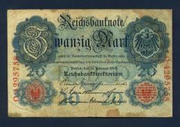 Banconota Germania 20 Mark 1914 BB - Germany