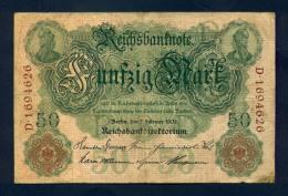 Banconota Germania 50 Mark  7/2/1908 BB - To Identify