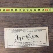 PUB PUBLICITE GRENOBLE MON BIJOU HORLOGERIE RUE MONTORGE - Vieux Papiers