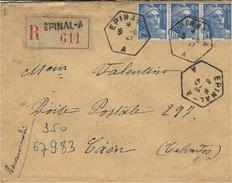 1947-  Env. De EPINAL - A  ( Vosges ) Cad Hexag. Plein De  Recette Aux. Urbaine   Type D4- Affr. Gandon à 13,50 F - Postmark Collection (Covers)