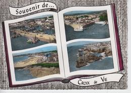 CPSM Croix-de-Vie - Souvenir De Croix-de-vie - Le Port De Pêche, Un Coin De Port, La Plage, Rochers Sur La Côte - France