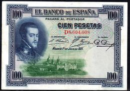 SPAIN 100 PESETAS 1925 P-69c VF - [ 1] …-1931 : First Banknotes (Banco De España)