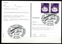"""Germany 1987 Sonderbeleg/Card """"Hubschrauber,Heli """"mit Mi.Nr.849 U.SST""""Weilheim-Hubschrauber Meisterschaft,Heli..""""1 Beleg"""