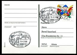 """Germany 1998 Sonderbeleg/Card """"Dinosaurier""""mit Mi.Nr.1991 U.SST""""Neuhardenberg-Tag Der Jungen Briefmarkenfreunde.""""1 Beleg"""
