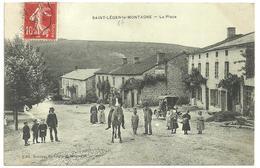 CPA St Léger La Montagne, Haute-Vienne,la Place, Belle Animation, Circulée En 1908 - Frankreich
