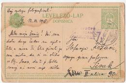 Hungary Croatia Postal Stationery Censored Karlovac Postcard Levelezo Lap Dopisnica Travelled 1915 Gospic To Sisak