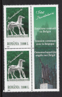 MINT STAMPS ( 2 Stamps + Strip ) -  SCUPLPTURES  / ART  ( Joint Issue With Belgium )-  2004  -  ROMANIA  **  / MNH  ---