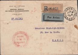VIETNAM  1952  STAMPLESS COVER  FROM SAIGON 1952  TO  HANOI  Ref  G801 - Vietnam