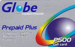 Philippines, 500 ₱ - Philippine Piso, Prepaid Plus (grey) - Globe Handyphone, 2 Scans.  Different Back