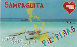 Philippines, Sampaguita, Gold Line International Calling Card, 2 Scans.