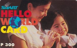 Philippines, Smart, P 300, Hello World Card, Woman And Child, 2 Scans.