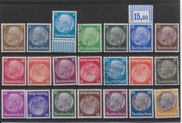 REICH - 1932 - YVERT N° 441/461 **/*/OB  (FILIGRANE LIGNES CROISEES)  - COTE = ENV. 1100 EUR. - HINDENBURG - Neufs