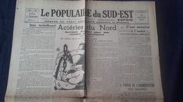 Journal 1944 Le Populaire Du Sud Est Ancien Espoir Parti Socialiste Marseille Acieries Du Nord Guerre - Autres