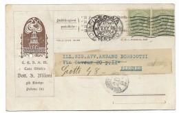 2 Francobolli Cent. 5 Regno 1924 Su Biglietto - Used