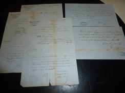 LOT DE 5 CONNAISSEMENTS 1855/56 Sous LA CONDUITE DES BATEAUX ACCELERES DU CANAL DU MIDI à AGEN TRANSPORT D'EAU DE VIE - Boats