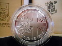 FALKLAND ISLANDS 50 PENCE ND 1982 SILVER PROOF 14th JUNE 1982 LIBERATION - Falkland Islands