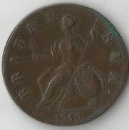GRANDE - BRETAGNE  1/2  PENNY 1753  QUALITE !  RARE ! - 1662-1816 : Anciennes Frappes Fin XVII° - Début XIX° S.