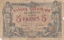 Banque Nationale De  BELGIQUE    5 Francs 1919. - [ 2] 1831-... : Belgian Kingdom