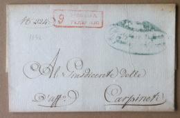 Prefilatelia - 1832 - Lettera Da Modena A Carpineti - Annullo Lineare Rosso - 1. ...-1850 Prefilatelia