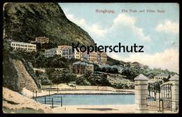 ALTE POSTKARTE HONGKONG THE PEAK AND FILTER BEDS Hong Kong China Chine Cpa AK Ansichtskarte Postcard - Cina (Hong Kong)