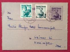 AUSTRIA BIGLIETTO POSTALE 40 G. + 40 + 70  DA PORTSCHAU WUATHEKSEE A MARIAZELL IN DATA 8/8/52 - Repubblica Ceca