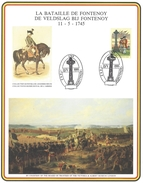 Speciale Herdenkingskaart De Veldslag Bij Fontenoy - Belgique