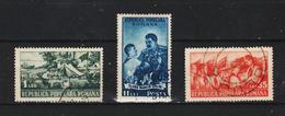 1951, 2 Anniv. De L Organisation Des Jeunes Pionniers Mi No 1259/1261 Et Yv 1146/1148