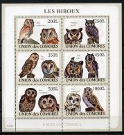 Comores, 2009, Birds, Oiseaux, Owls, Hiboux, Fauna, Animals, Wildlife, MNH Sheet, Michel 2191-2196