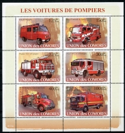 Comores, 2008, Fire Fighters, Fire Engines, Cars, Automobiles, MNH, Michel 1819-1824