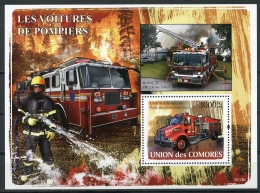 Comores, 2008, Fire Fighters, Fire Engines, Cars, Automobiles, MNH, Michel Block 432