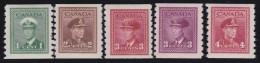 Canada      .    SG    .    389/393       .        *     .       Ongebruikt  .   /   .    Mint-hinged  VVLH - 1937-1952 Règne De George VI