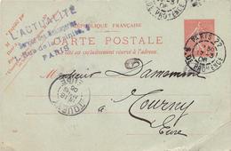 Carte Postale- Entier Postal 10c Semeuse - Cachet L'ACTUALITE Services Des Messageries - PARIS - Postal Stamped Stationery