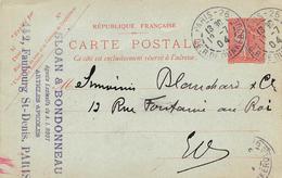 Carte Postale- Entier Postal 10c Semeuse - Cachet SLOAN & BONDONNEAU - PARIS  - 1904 - Postal Stamped Stationery
