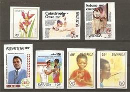 Rwanda - Divers - 1981 à 1988 - 7 Timbres Non Dentelés MNH - Imperforated -  Fleurs, Handicapés, Santé, Catastrophes... - Timbres