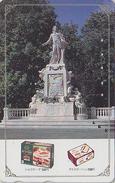 Rare Télécarte Japon / 110-011 - MUSIQUE - MOZART / Statue & Pub CHOCOLAT Chocolate - Japan Music Phonecard AUSTRIA Rel - Musik