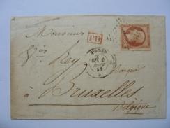 TIMBRE NAPOLEON III 80C CARMIN NON  DENTELE  SUR LETTRE ANNEE 1859  OBLITERE LOSANGE LETTRE (F) QUARTIERS DE PARIS + PD - 1853-1860 Napoléon III
