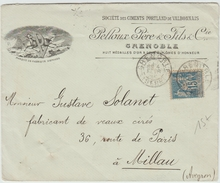 1892 - ENVELOPPE ILLUSTREE De GRENOBLE (ISERE) Avec TYPE SAGE - Storia Postale