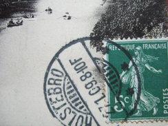 """HOLSTEBRO -  SUR CPA - 2 SEMEUSES 5C VERT : OBLITERES PAR UN CACHET DANOIS ( DANEMARK ) : HOLSTEBRO - """" TRES RARE """" - Marcophilie (Lettres)"""