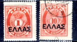 Creta-032 - 1910 - Y&T: N.19, 21, (+/o) - - Creta