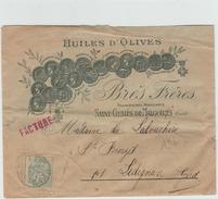 ENVELOPPE ILLUSTREE (HUILES D'OLIVES) De SAINT GENIES DE MALGOIRES (GARD) - TYPE SAGE - Storia Postale