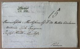 Prefilatelia - 1850 - Lettera Da Loreo A Padova - Annullo Corsivo Verde - Italia