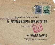 WARSZAWA - VARSOVIE Lodz Cachet Carré Rouge 6 Groszy - Poczta Miejska - Affranchissement Allemand - ....-1919 Provisional Government