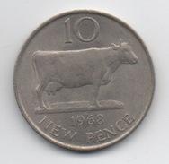Guernesey : 10 New Pence 1968 Vache (Très Bon État - Diamètre 28 Mm) - Guernsey