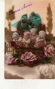 Jolie Carte Fantaisie Bébés Filles Dans Les Roses - Babies