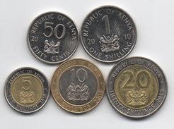 Kenya : Série De 5 Pièces UNC Ou Presque 2005 & 2010 Dont 3 BIMETAL - Kenya