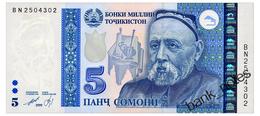 TADJIKISTAN 5 SOMONI 1999(2013) Pick 23 Unc - Tadschikistan