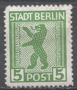 German, Russian Occupation (Berlin-Brandenburg) 1945. Scott #11N1 (M) Berlin Bear * - Zone Soviétique