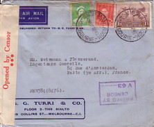 """AUSTRALIE - LETTRE POUR LA FRANCE - BANDE DE CENSURE """"OPENED BY CENSOR"""" DE MELBOURNE LE 11-4-1940 - GRIFFE PASSED BY CEN - 1937-52 George VI"""