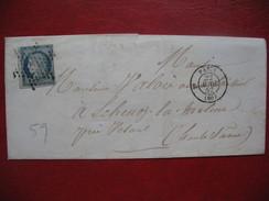 Lettre Ceres N° 4 Oblitération Etoile De Paris 1852 Pour La Haute Saone Près De Vezoul - 1849-1876: Classic Period