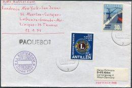 1974 Dutch Antillies / Nederlandse Antillen S.S. ROTTERDAM Ocean Post PAQUEBOT Ship Cover. Lions Club - Curacao, Netherlands Antilles, Aruba